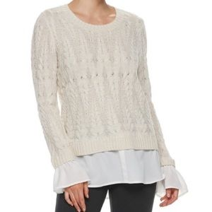Elle Cable Knit Mock Layer Oatmeal Sweater Ruffle